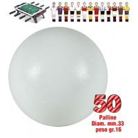 Calcio Balilla set di 50 palline universali HS, prima scelta, colore bianco, per calcio balilla Ø mm.33, peso gr.16. Rotondità e peso controllati.