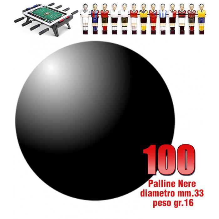 Calcio Balilla set di 100 palline HS colore nero per calcetto diametro mm.33, peso gr.16.