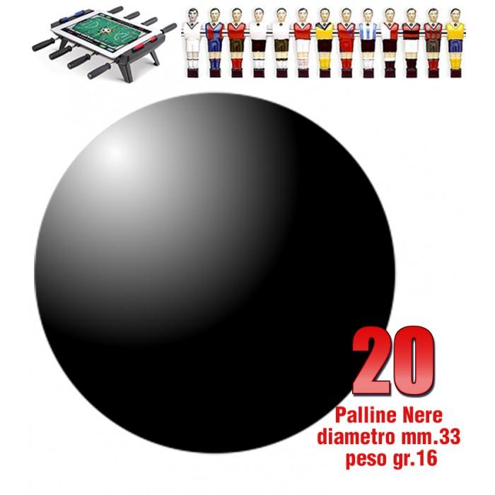 Calcio Balilla set di 20 palline standard HS colore nero per calcetto diametro mm.33, peso gr.16.