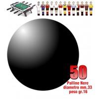 Calcio Balilla set di 50 palline standard HS colore nero per calcetto diametro mm.33, peso gr.16. Rotondità e peso controllati.