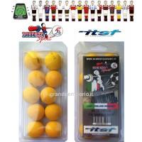 Calcio Balilla Roberto Sport set 10 palline ufficiali ITSF, stampate in materiale morbido e successivamente sottoposte a trattamento per renderle ruvide.