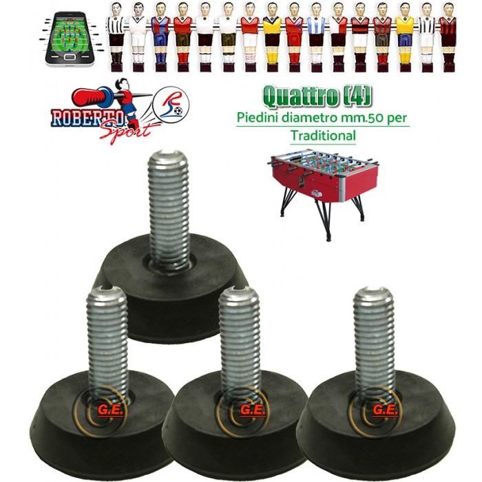 Calcio Balilla Roberto Sport 4 piedini 1165, regolabili, diametro mm.50. Piedini per Traditional.