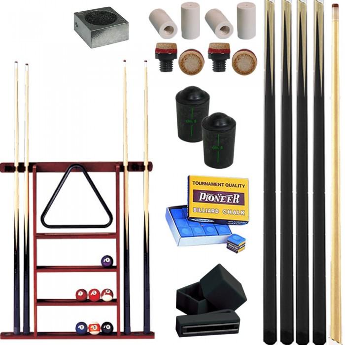 Stecche CPS/57 ECO pool 145 cm nere, 4 stecche intere in legno di cassia cm 145 cuoio mm 12 con stecchiera 6 posti. Ricambi accessori e omaggi.