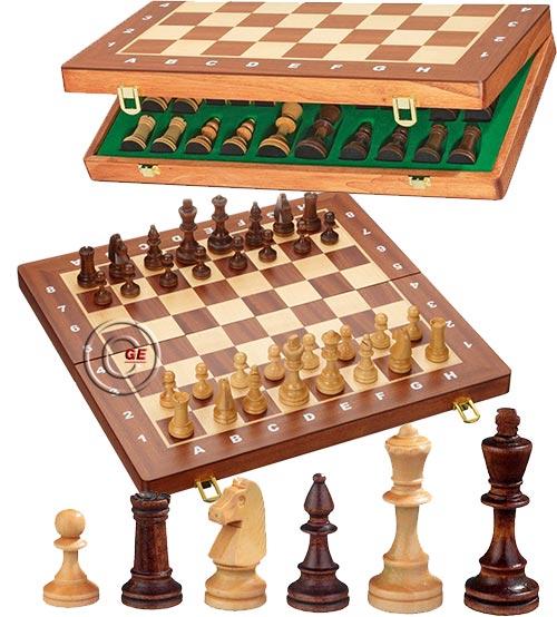 Scacchiera De Luxe pieghevole a cassetta, con porta scacchi, in legno mm. 410 x 200 x 50 con set di scacchi Staunton in legno Re h mm.78.