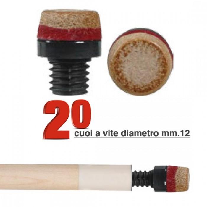 Cuoio a vite in plastica Ø mm.12 confezione da 20 pezzi.
