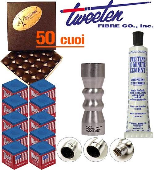 Tweeten Le Professionel, 50 cuoi per stecca Ø mm.13 abbinati ad un Cuetec Bowtie 3 in 1 e ad un collante cuoi Tweeten Cement, gessi Master in omaggio.