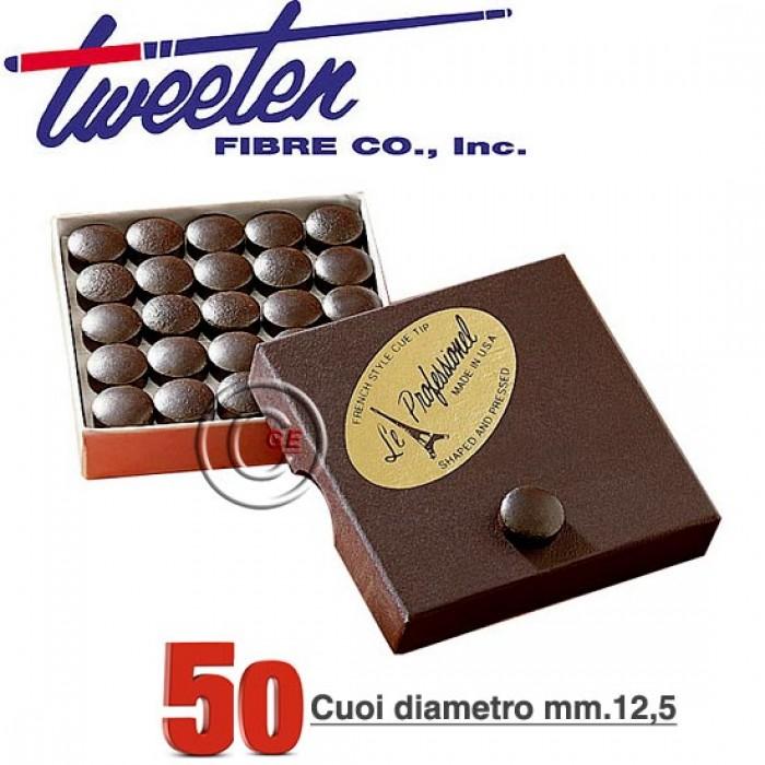 Tweeten Le Professionel confezione 50 cuoi per stecca biliardo durezza medium Ø mm.12,5.