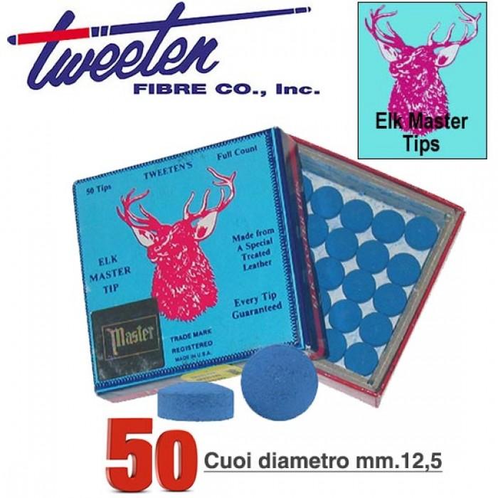 Tweeten Elk Master cuoio per stecca biliardo Ø mm.12,5. Scatola 50 pezzi.