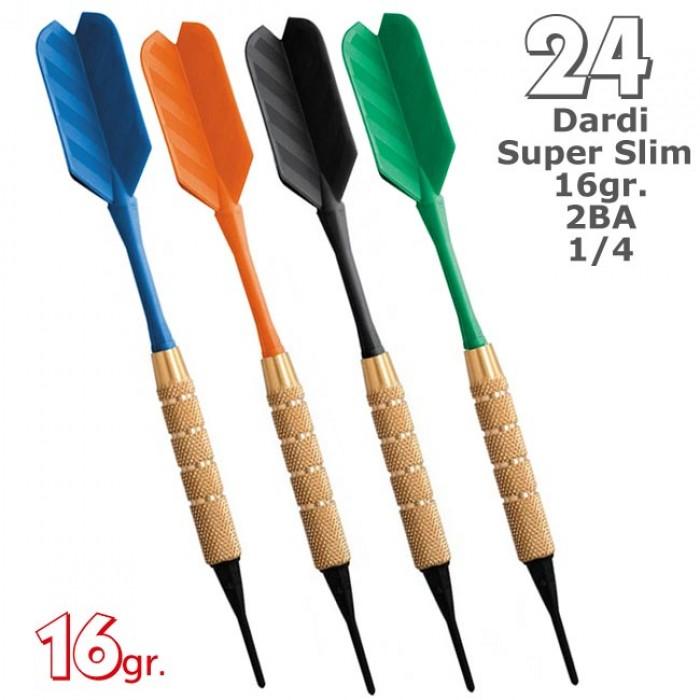 Dardi set di 24 Freccette Softdard Super Slim, punta in plastica, 1-4 BSF 2BA 16gr.