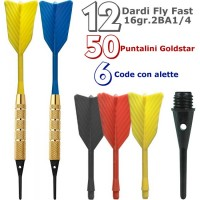 Dardi set di 12 Freccette Soft Fly Fast, punta plastica, 1-4 BSF 2BA16gr, con 50 punte Goldstar e 6 code di ricambio.