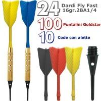 Dardi set di 24 Freccette Soft Fly Fast, punta plastica, 1-4 BSF 2BA16gr, con 100 punte Goldstar e 10 code di ricambio.