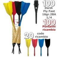 Dardi set di 100 Freccette Soft Fly Fast, punta plastica, 1-4 BSF 2BA16gr, con 100 punte Goldstar di ricambio e 20 code di ricambio.