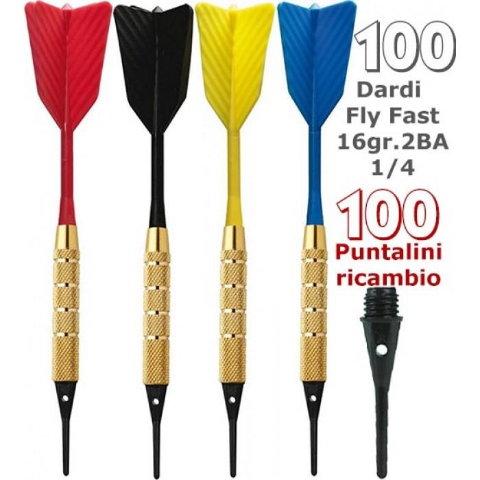 Dardi set di 100 Freccette Soft Fly Fast, punta plastica, 1-4 BSF 2BA16gr, con 100 punte Goldstar di ricambio.