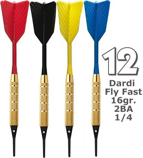 Dardi set di 12 Freccette Softdard Fly Fast, punta in plastica, 1-4 BSF 2BA16gr.