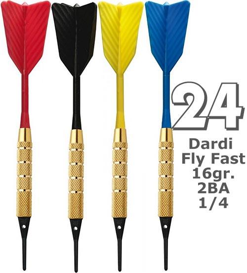 Dardi set di 24 Freccette Softdard Fly Fast, punta in plastica, 1-4 BSF 2BA16gr.