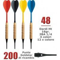 Dardi set di 48 Freccette Soft Tip, punta in plastica, tipo HT 1-4 BSF 16gr. Con 200 punte Goldstar di ricambio.