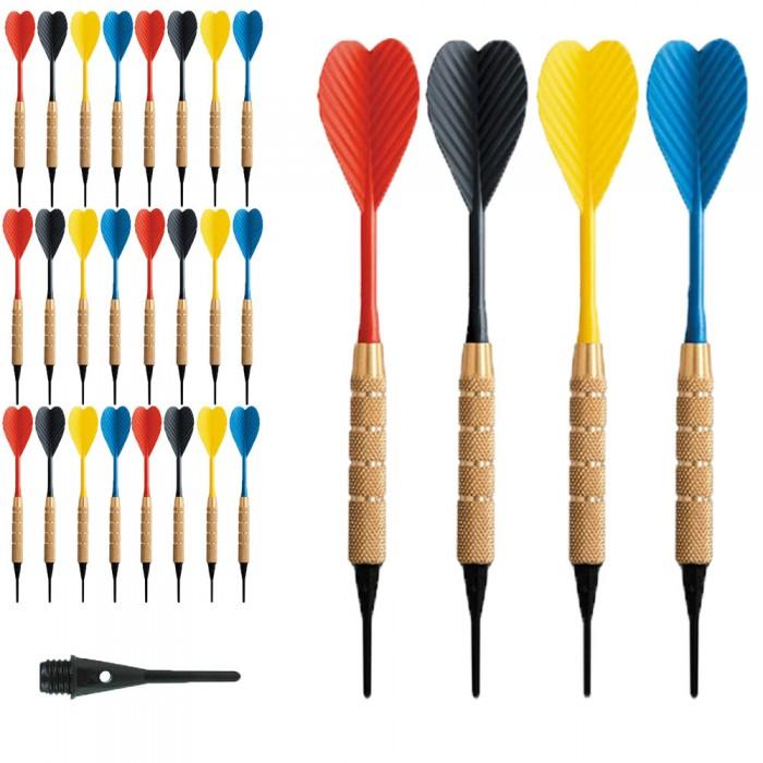 Dardi set di 24 Freccette Soft Tip, punta in plastica, tipo HT 1-4 BSF 16gr. Con 100 punte Goldstar di ricambio.