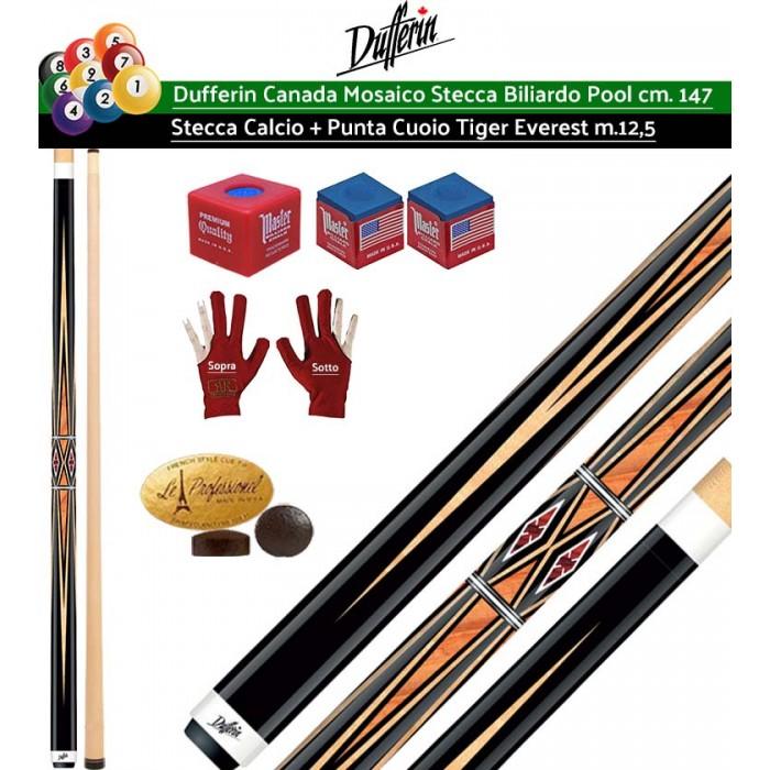 Stecca biliardo pool Dufferin Mosaico Serie D532 Pro. Stecca 2 pezzi, calcio e punta, acero canadese, lunghezza cm.147, cuoio Tiger Everest multistrato diametro  m.12,5. Peso 18oz-21oz. Dotazione ricambi, accessori e omaggio. Offerta risparmio.