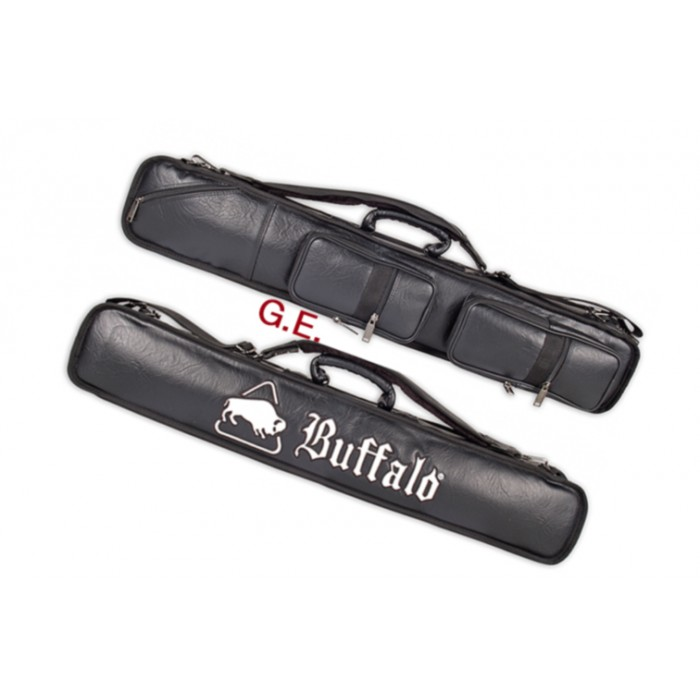 Biliardo custodia fodero porta stecche Buffalo in ecopelle, capacità 4 calci e 8 puntali. Manico, tracolla, tasche.