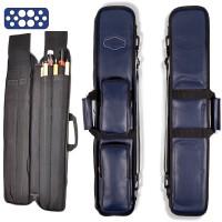 Custodia stecca biliardo Buffalo Premium Blu fodero porta stecca imbottito in pelle sintetica capacità 4 calci e 8 punte con guanto omaggio.