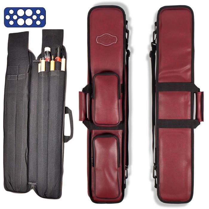 Custodia stecca biliardo Buffalo Premium bordeaux fodero porta stecca imbottito in pelle sintetica capacità 4 calci e 8 punte con guanto omaggio.