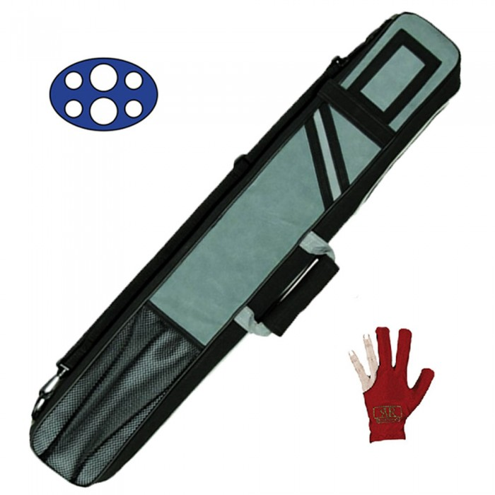 Stecca biliardo fodero porta stecca in ecopelle, capacità 2 calci e 2 punte. Manico, tracolla, tasche. Bicolore grigio e nero. In omaggio guanto da biliardo.
