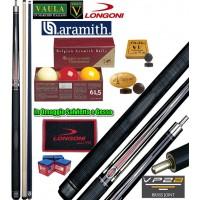 Stecca biliardo 5 birilli Longoni Vaula Laser 1 Pro cm.141,5, cuoio Ø mm.12, peso gr.610-630, 2 punte, acero e carbonio, con bilie Super Aramith tournament 61,5, Ricambi e omaggi.