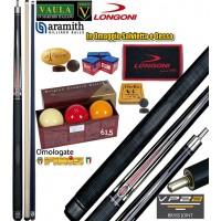 Stecca biliardo 5 birilli Longoni Vaula Laser 1 Pro cm.141,5, cuoio diametro mm.12, peso gr.610-630, 2 punte, acero e carbonio, con bilie Aramith 61,5 omologate Fibis, Ricambi, Accessori e Omaggio.