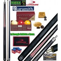 Stecca biliardo 5 birilli Longoni Vaula Laser 2 Pro cm.141,5, cuoio Ø mm.12, peso gr.610-630, 2 punte, acero e carbonio, con bilie Super Aramith tournament 61,5, Ricambi e omaggi.