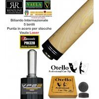 Biliardo 5 birilli internazionale punta per stecca Longoni  Vaula Laser in acero cm. 73 cuoio diametro mm.12,2, con cuoio Otello di ricambio e omaggio.