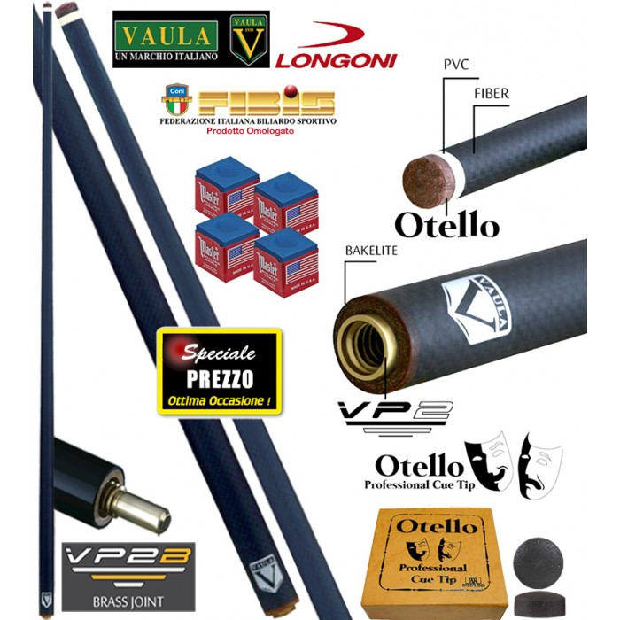 Biliardo 5 birilli Vaula Shadow punta in fibra di carbonio cm.73, cuoio Longoni Otello mm.12,2, peso gr.115, con ricambio e omaggio.