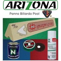 Renzi Line Arizona panno per biliardo Pool 8 campo da gioco cm.224x112, ardesia cm.241x130. Taglio mt. 2,8x1,6 per piano e sponde. Kit con 6 gomme sponde BG cm.109, collante, cleaner panno e omaggio.