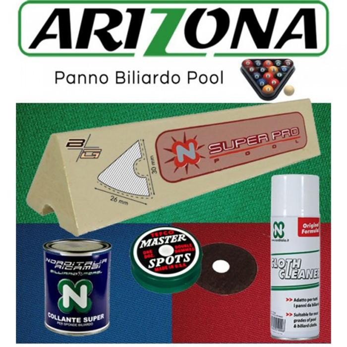 Renzi Line Arizona panno per biliardo Pool 7 campo da gioco cm.200x100, ardesia cm.222x120. Taglio mt. 2,6x1,6 per piano e sponde. Kit con 6 gomme sponde BG cm.96, collante, cleaner panno e omaggio.