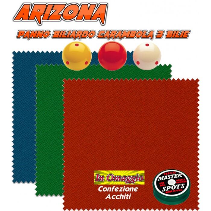 Biliardo Carambola 3 Bilie panno Renzi Line by Longoni Arizona. Taglio cm. 340x160 copertura piano e sponde biliardo senza buche K230, campo da gioco cm.230x115, ardesia cm.252x135, con omaggio.