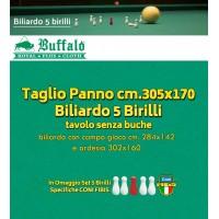 Biliardo 5 birilli Panno Buffalo Royal Plus Laeken, yellow green, per tavolo internazionale senza buche. Panno cm.305x170 copertura piano biliardo campo gioco cm.280x142, sponde escluse. Panno sintetico, poliestere e viscosa. Set birilli in omaggio.