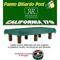 Panno biliardo pool Renzi Line by Longoni California cm.340x170, verde per piano e sponde biliardo pool 9 piedi, con buche, campo da gioco cm.254x127, ardesia cm.272x145,con coperta per tavolo cm.300x200 e omaggio
