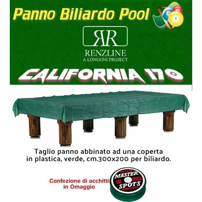 Panno biliardo pool Renzi Line by Longoni California cm.260x170, verde per piano e sponde biliardo pool 7 piedi, con buche, campo da gioco cm.200x100, ardesia cm.222x120,con coperta per tavolo cm.300x200 e omaggio