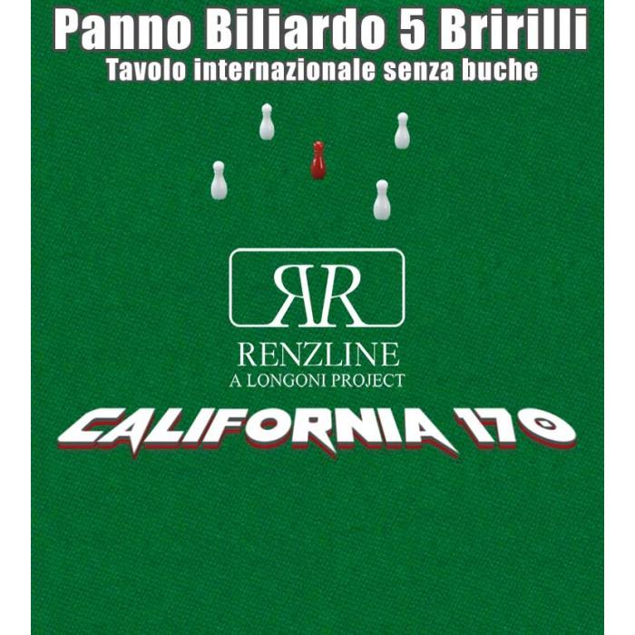 Panno biliardo 5 birilli tavolo internazionale, senza buche,  Renzline by Longoni California verde taglio cm.305x170 copertura piano per biliardo con campo gioco fino a cm.284x142, ardesia cm.302x160. Ste di 5 birilli omologati Fibis in omaggio.