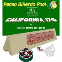 Panno biliardo pool Renzline (by longoni) California verde cm.340x170, copertura piano e sponde tavolo, 9 piedi. Misure biliardo: campo da gioco cm.254x127, ardesia cm.272x145, con set di 6 gomme per sponde Super Pro profilo K66 cm.120 ed omaggio.
