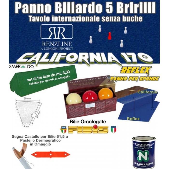 Panno biliardo 5 birilli Renzline by Longoni California blu, panno cm.305x170 copertura piano biliardo con campo gioco fino a cm.284x142 e ardesia cm.302x160, con panno per sponde Reflex, gomme sponde Smeraldo e bilie Super Aramith 61,5 omologate.