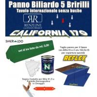 Panno biliardo 5 birilli Renzline by Longoni California blu, panno cm.305x170 copertura piano biliardo con campo gioco fino a cm.284x142 e ardesia cm.302x160, con panno per sponde Reflex e gomme sponde Smeraldo, collante e omaggi.