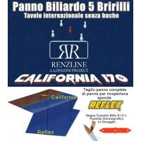 Panno biliardo 5 birilli tavolo internazionale, senza buche,  Renzline by Longoni California blu taglio cm.305x170 copertura piano biliardo con campo gioco fino a cm.284x142, abbinato ad un set di panno per sponde Reflex. Accessori e omaggio.