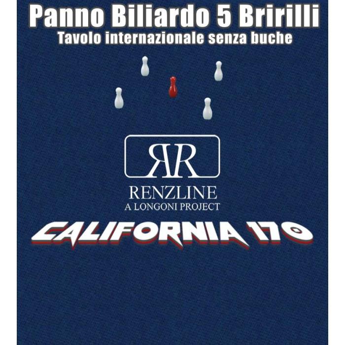 Panno biliardo 5 birilli tavolo internazionale, senza buche,  Renzline by Longoni California blu taglio cm.305x170 copertura piano per biliardo con campo gioco fino a cm.284x142, ardesia cm.302x160. Ste di 5 birilli omologati Fibis in omaggio.