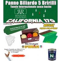 Panno biliardo 5 birilli Renzline California verde, panno cm.305x170 copertura piano biliardo con campo gioco fino a cm.284x142 e ardesia cm.302x160, con panno per sponde Reflex, gomme sponde Smeraldo e bilie Super Aramith 61,5 omologate.