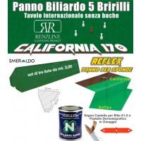 Panno biliardo 5 birilli Renzline by Longoni California verde, panno cm.305x170 copertura piano biliardo con campo gioco fino a cm.284x142 e ardesia cm.302x160, con panno per sponde Reflex e gomme sponde Smeraldo, collante e omaggi.