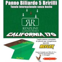 Panno biliardo 5 birilli tavolo internazionale, senza buche,  Renzline by Longoni California verde taglio cm.305x170 copertura piano biliardo con campo gioco fino a cm.284x142, abbinato ad un set di panno per sponde Reflex. Accessori e omaggio.