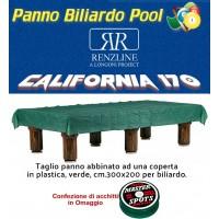 Panno biliardo pool Renzline by Longoni California cm.200x170, blu per piano e sponde biliardo pool 6 piedi, con buche, campo da gioco cm.180x90, ardesia cm.191x99,con coperta per tavolo cm.300x200 e omaggio