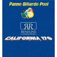 Panno biliardo Pool Renzline (by Longoni) California blu cm.340x170 copertura piano e sponde tavolo, 9 piedi, con buche. Misure biliardo: campo da gioco cm.254x127, ardesia cm.272x145.