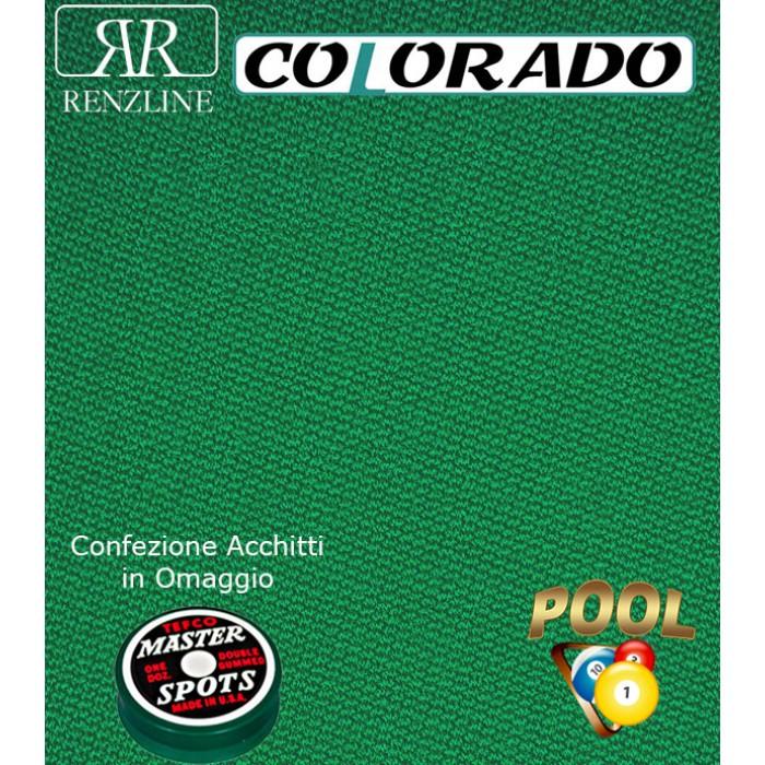 Colorado panno per tavolo biliardo 43% lana e 57% poliestere.Taglio panno cm.200x168 per biliardo Pool 6 piedi, campo da gioco cm.180x90. Acchitti in omaggio.