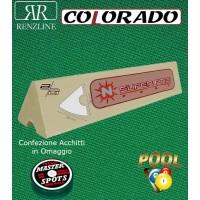 Renzi Line by Longoni Colorado panno biliardo 43% lana e 57% poliestere. Taglio panno cm.260x168 per biliardo Pool 7 piedi, campo da gioco cm.200x100. In abbinamento set di 6 gomme sponde Longoni Super Pro, ed omaggio.